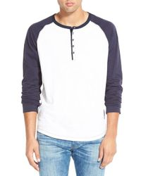 Howe | White 'digital Crimes' Long Sleeve Henley for Men | Lyst