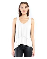 Michael Stars | White Lycra Double Layer Tank | Lyst