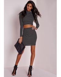 Missguided | Black Stripe Mini Skirt Monochrome | Lyst
