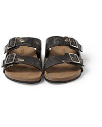 Givenchy - Gray Butterfly-Print Leather Sandals for Men - Lyst