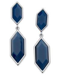 T Tahari | Silver-tone Blue Hexagonal Stone Double Drop Earrings | Lyst