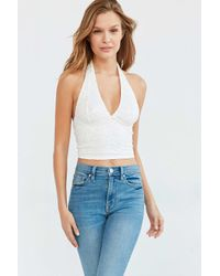 Kimchi Blue - White Tali Lace Halter Top - Lyst