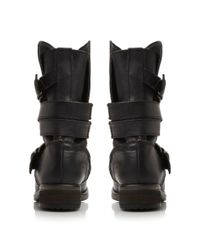 Steve Madden | Black Kindell Strap Detail Calf Boots | Lyst