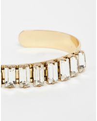 Pieces - Metallic Valja Multi Crystal Cuff Bracelet - Lyst