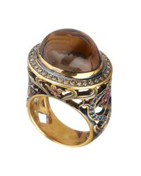Queensbee | Oval Flower Ring Brown | Lyst