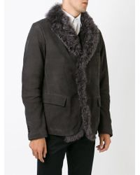 Giorgio Armani - Gray Shearling Single Breasted Coat for Men - Lyst