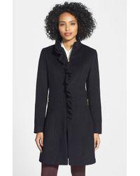 T Tahari | Black 'kenya' Ruffle Front Wool Blend Coat | Lyst