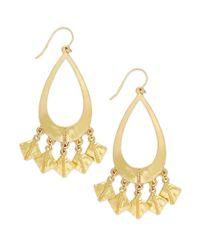 Lauren by Ralph Lauren - Metallic Worn Goldtone Gypsy Hoop Teardrop Earrings - Lyst