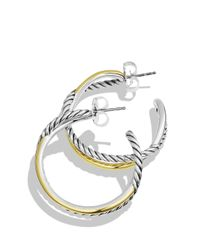 David Yurman - Metallic Crossover Hoop Earrings With Gold - Lyst