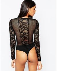 ASOS - Black Fishnet And Lace Mix Plunge Neck Body With Thong - Lyst
