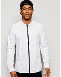 ASOS | Black White Shirt With Zip Through Front In Regular Fit - White for Men | Lyst