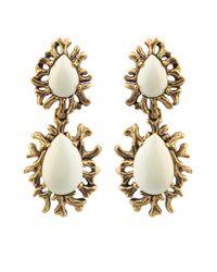 Oscar de la Renta   White Ivory Branch Cabochon Clip Earrings   Lyst