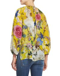 Roberto Cavalli - Yellow Floral-print Silk Georgette Kaftan Top - Lyst