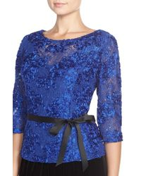 Alex Evenings | Blue Satin Rosette Embellished Lace Top | Lyst
