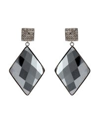 Adornia - Black Hematite And Champagne Diamond Mondrian Earrings - Lyst