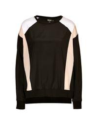 DKNY - Natural Silk Colorblock Top in Blacknude - Lyst