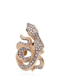 Roberto Cavalli - Metallic Swarovski Serpents Ring - Lyst