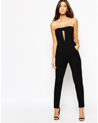 Oh My Love - Black H My Love Plunge Catsuit With Metal Bar Detail - Lyst