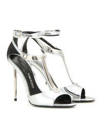 Tom Ford - Elena Metallic Leather Sandals - Lyst