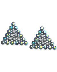 Guess | Black Hematite-tone Crystal Triangle Button Earrings | Lyst