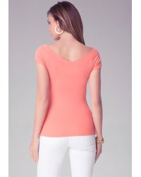 Bebe - Pink Double V-Neck Logo Tee - Lyst