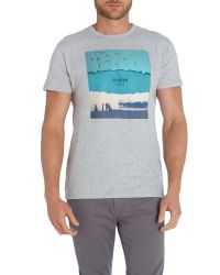 Ben Sherman | Gray Brighton Print Crew Neck Regular Fit T-shirt for Men | Lyst