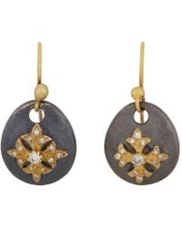 Sara Weinstock Metallic Diamond and Gold Maltese Cross Sterling Silver Drop Earrings