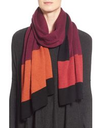 Eileen Fisher | Black Colorblock Merino Wool Scarf | Lyst