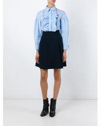 Vivetta - Blue Embroidered Ruffle Shirt - Lyst