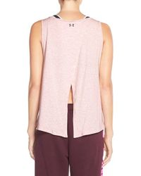 Under Armour | Pink 'take A Chance' Split Back Tank | Lyst