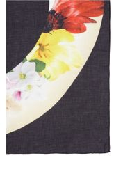 Faliero Sarti - Black 'dishfull' Floral Print Modal-cashmere Scarf - Lyst