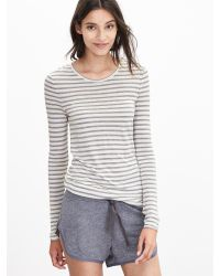 Banana Republic | Gray Striped Lounge Crew | Lyst