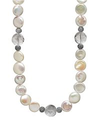 Lord & Taylor | Natural Sterling Silver Freshwater Coin Pearl Necklace With Swarovski Crystal Beads | Lyst