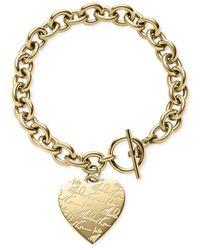 Michael Kors - Metallic Logo Heart Charm Toggle Bracelet - Lyst