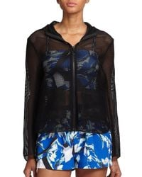 Clover Canyon - Black Hooded Mesh Zip-up Jacket - Lyst