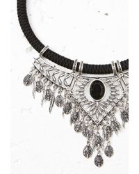 Forever 21 - Black Etched Statement Necklace - Lyst