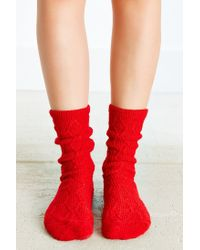 Urban Outfitters - Red Braided Diamond Boot Sock - Lyst