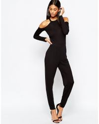 ASOS | Jersey Jumpsuit With Cold Shoulder - Black | Lyst