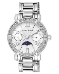 Anne Klein - Metallic Crystal Bezel Multifunction Bracelet Watch - Lyst