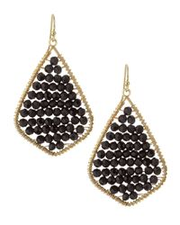 Nakamol | Metallic Crystal Beaded Feather Earrings Black | Lyst