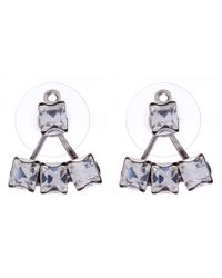 DANNIJO | Metallic Oxidised Silver Donna Swarovski Jacket Stud Earrings | Lyst