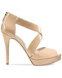 Michael Kors | Natural Michael Ariel Platform Dress Sandals | Lyst