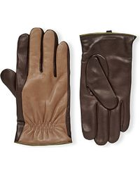 Armani | Brown Gathered Leather Gloves for Men | Lyst