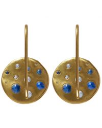 Polly Wales - Metallic Gold Crystal Disc Blue Sapphire Hook Earrings - Lyst