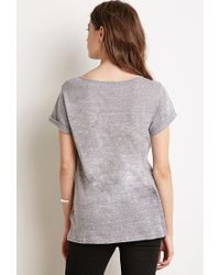 Forever 21 | Gray Heathered Split-neck Tee You've Been Added To The Waitlist | Lyst