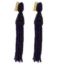 Oscar de la Renta - Dark Purple Long Tassel Clip-On Earrings - Lyst