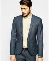 Noak | Gray Suit Jacket With Peak Lapel In Super Skinny Fit - Grey for Men | Lyst