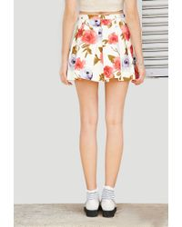 Forever 21 | Natural Floral Box-pleated Skirt | Lyst