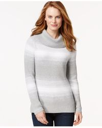 Tommy Hilfiger - Gray Cowl-neck Ombre-striped Sweater - Lyst