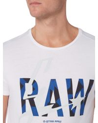 G-Star RAW | White Lamar Regular Fit Graphic Crew Neck T-shirt for Men | Lyst